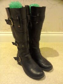 Ladies size 6 black knee length boots