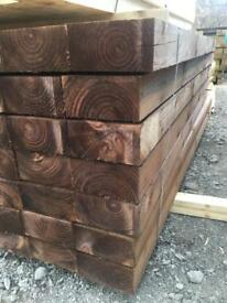 🌲 WOODEN PRESSURE TREATED BROWN RAILWAY SLEEPERS ~ NEW 🌲