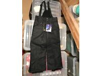 Kids 5-6 years black ski trousers (new with label, F&F)