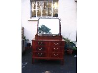 Dressing table with mirror, chest of drawers, vintage dresser, solid mahogany wood, c.1930.