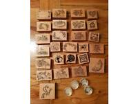 Wooden rubber stamps -30 in total,NEW