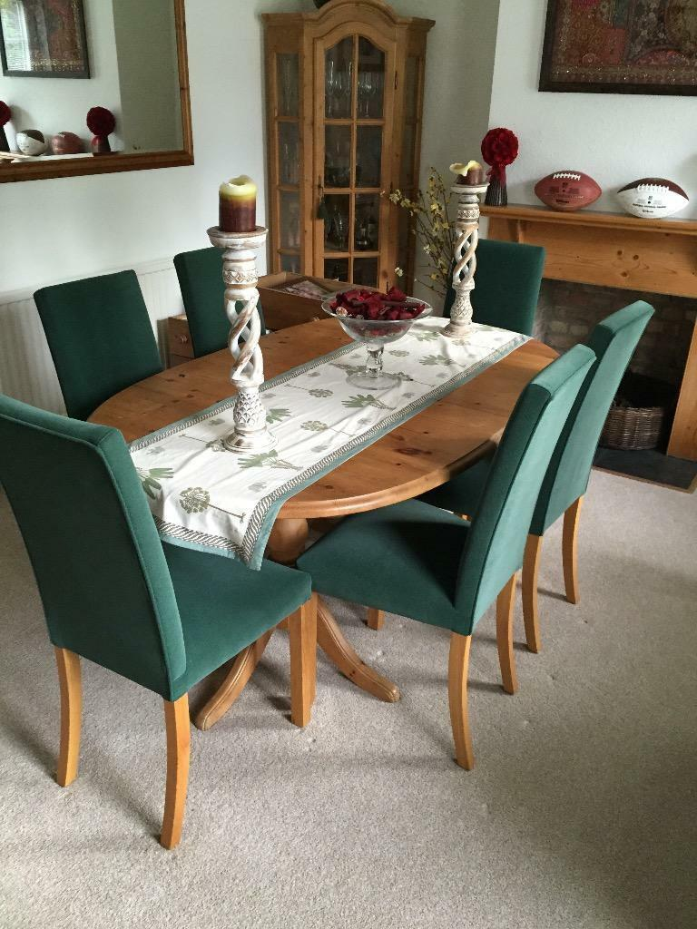 Pine Dining Table And 6 M S Fabric Covered Chairs In Ardleigh Essex