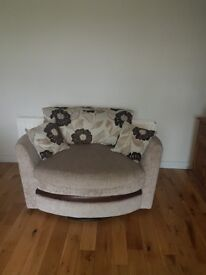 Corner Sofa with matching swivel cuddler chair