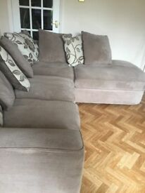 Immaculate Corner / L-shape sofa and swivel chair set. Mink/Light Brown - no stains, marks or tears.