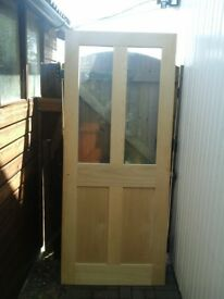 Solid Oak veneer part glazed door ( Retail £170 )