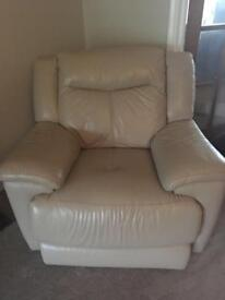 Electric Reclining Leather Sofa and Chair.
