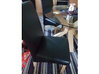 Solid oak base glass top dining table chairs