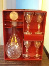 Crystal Sherry Decanter and 4 Sherry Glasses