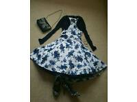 Wedding outfit party 50's swing rockabilly dress 10, ruby shoos 8, clutch,balero, accessories