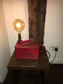 POLISHED VINTAGE PETROL CAN LAMP WITH VINTAGE LEAD DIMMABLE