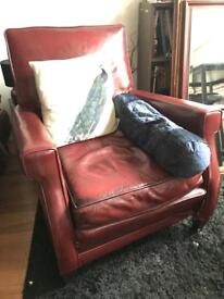 Red Leather Gentleman's Cub Armchair
