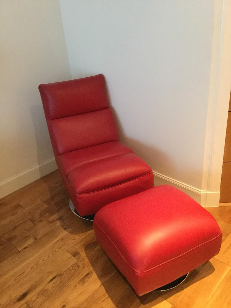 Contemporary Real Red Leather Swivel Chair Amp Matching Foot