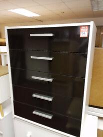 New Sywell 5 Drawer Chest - White & Black Gloss