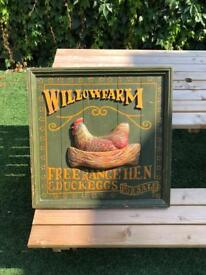 Vintage? wooden willow farm advertising egg sign