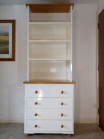 Modern 4 Tier White Storage Display Shelf Bookcase with 4 Drawer and Shelves
