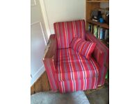 Cosy Striped Shabby Chic Armchair