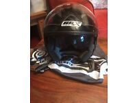Box Moped / Motorcycle Large Open Face Helmet with Visor and In-Built Sunglasses Large No Accidents