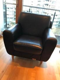 2 x Leather Single Seater Chair
