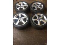"Genuine SAAB 2001 - 2009 Set of alloy wheels 17"" 4 excellent tyres"