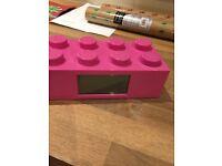 Pink lego alarm clock