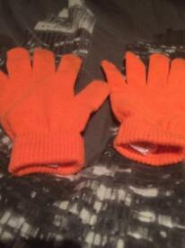 Kids Orange Gloves