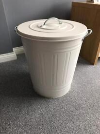White metal lidded bin - 2 available