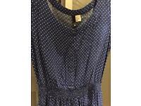 H&M blue and white polka dot skater dress size 8