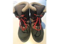 Size UK 11 (EUR 29) V good condition Kids Sorel snowboots in grey with red pull-to lace