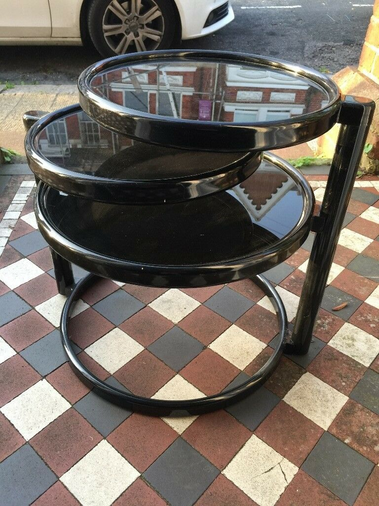 original leitmotiv 70s coffee table double swivel black glass in