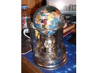 Gemstone Globe with Bright Silver Rotating Stand - Bahama Blue, Musical with rotating clocks
