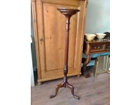 "Antique Mahogany torchere 4ft 8"" high Tripod base Fluted & turned column"