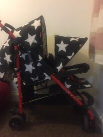 Double baby push chair