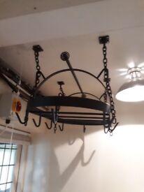 Wrought iron pan rack