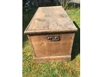 Small Old Wooden Trunk / Chest / Toy Box