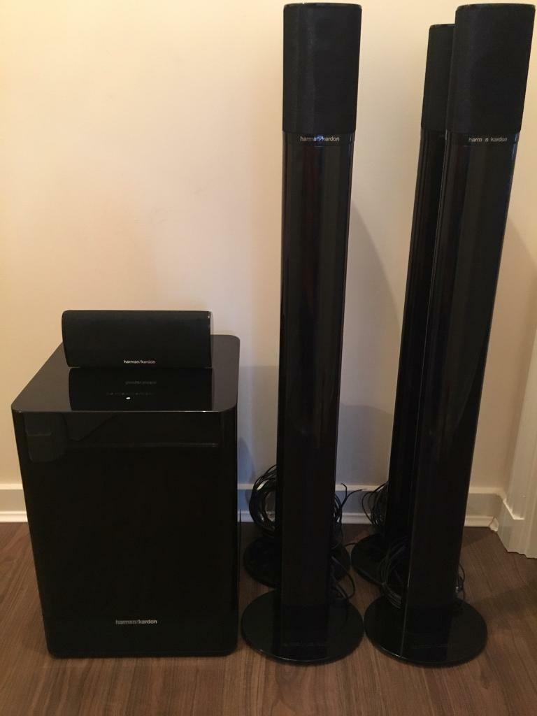harman kardon 5 1 surround speakers stands and powered. Black Bedroom Furniture Sets. Home Design Ideas
