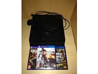 Ps4 with GTA 5, Bo3, Battlefield 4. With wires no controller