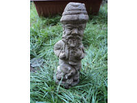 OLD STONE GARDEN ORNAMENT OF A RAMBLER MAN AND HIS DOG - VINTAGE DECORATION