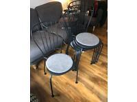 Grey metal chairs
