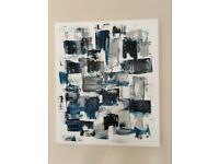 Indigo blue/grey/black and white abstract canvas
