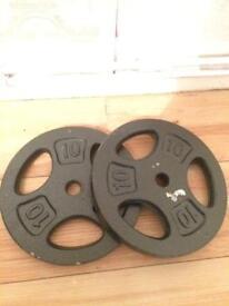 2x 10kg cast iron weights £1 a kg