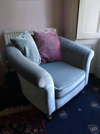 Tub armchair, blue/grey velvet, 3 years old, excellent condition, with matching cushions.