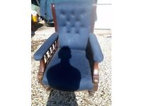 Beautifully crafted blue nursing chair