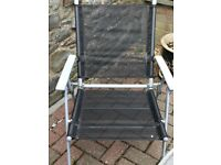 4 garden chairs, glass table and umbrella