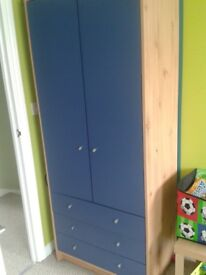 Blue/Oak Effect Wardrobe