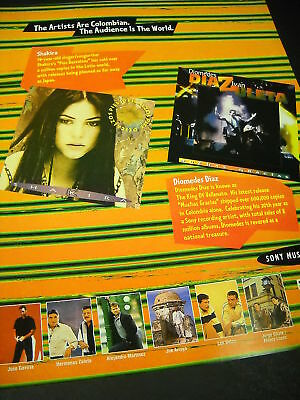 SHAKIRA and DIOMEDES DIAZ 1996 Colombian PROMO AD mint condition