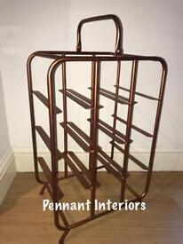 Industrial copper finished 9 bottle wine holder rack