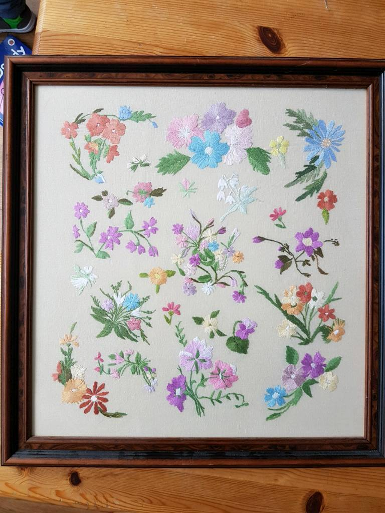 Large vintage floral embroidary
