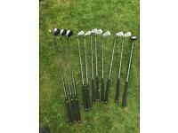 Wilson golf clubs, bag, trolly