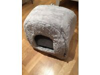 [New Low Price] RSPCA Luxury Plush Igloo Cat Bed, Silver