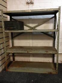 Vintage Retro Metal shelving 4 shelve metal boxes extra